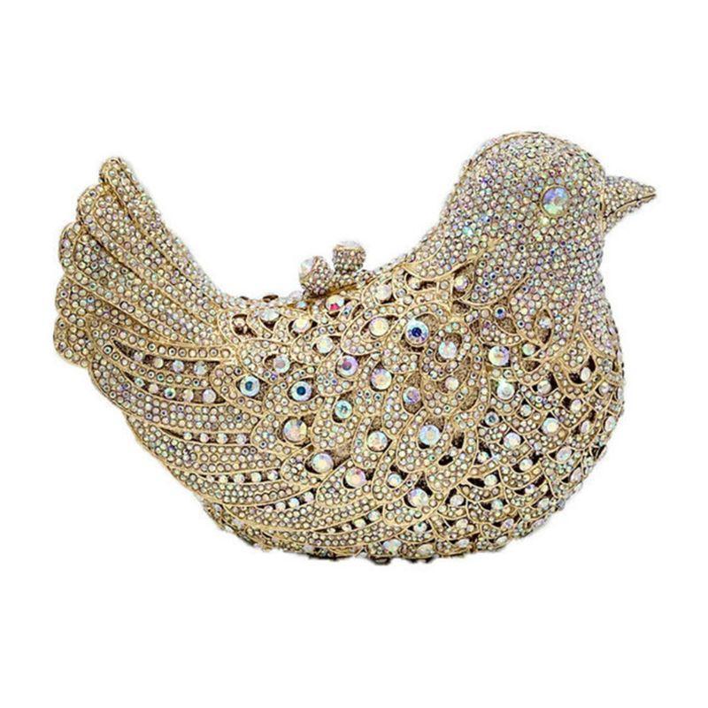 THINKTHENDO 2019 Женщина с блестками птицы вечер сумки венчания партии выпускного вечера Bridal Rhinestone сумка сцепления плечо цепь сумка
