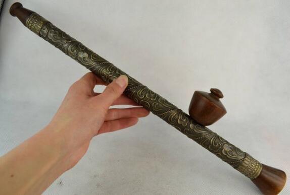 Copper Brass craft Rare old handmade bronze flower decoration smoking paraphernalia