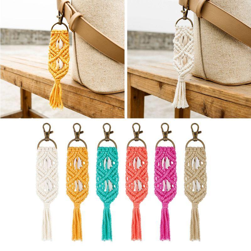 Mini Makramee Schlüsselanhänger Boho Taschenanhänger mit Quasten Handcrafted Zubehör für Auto-Schlüssel-Halter, Handtasche, Phone Wallet