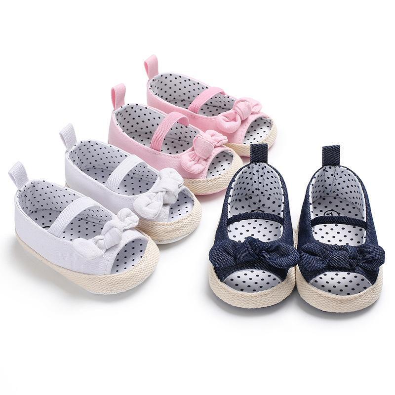 Первый Уолкер новорожденных девочек детская обувь Красивая девушка младенца Bowknot сандалии новорожденный Повседневный Открытый принцессы Шпаргалка обувь J191004