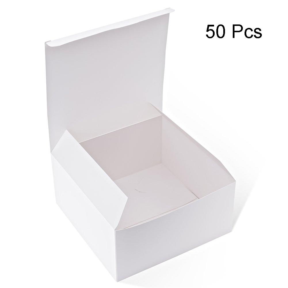 50PCS Accessories Cupcakes Easy Assemble Ornaments DIY Gift Storage Square Shape Packing Box Card Paper Crafts Party Supplies