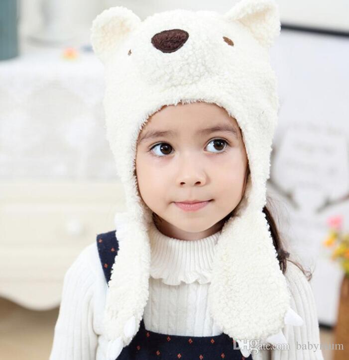 style coréen dessin animé animal ours bonnet chaud bonnet de laine polaire bébé cache-vent cache-oreilles épais bonnets enfants ski ski Bonnet béret casquette