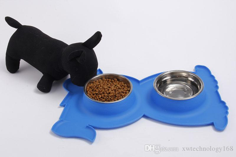 1PCS Stainless Steel Pet Dog Shape Bowls Non-skid Silicone Mat Feeder Bowls for Pet Dog Cat 7 Colors