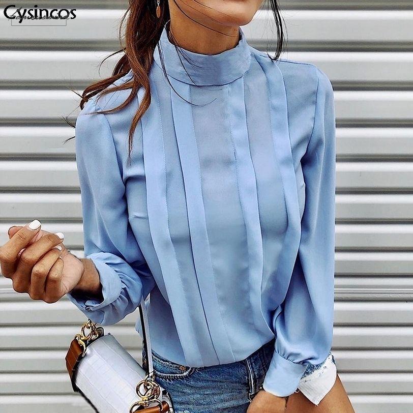 Outono elegante shirt de manga comprida Blusa Mulheres Botão Sexy plissadas Blusa Tops Feminino suporte sólido Neck Office Lady Blusa