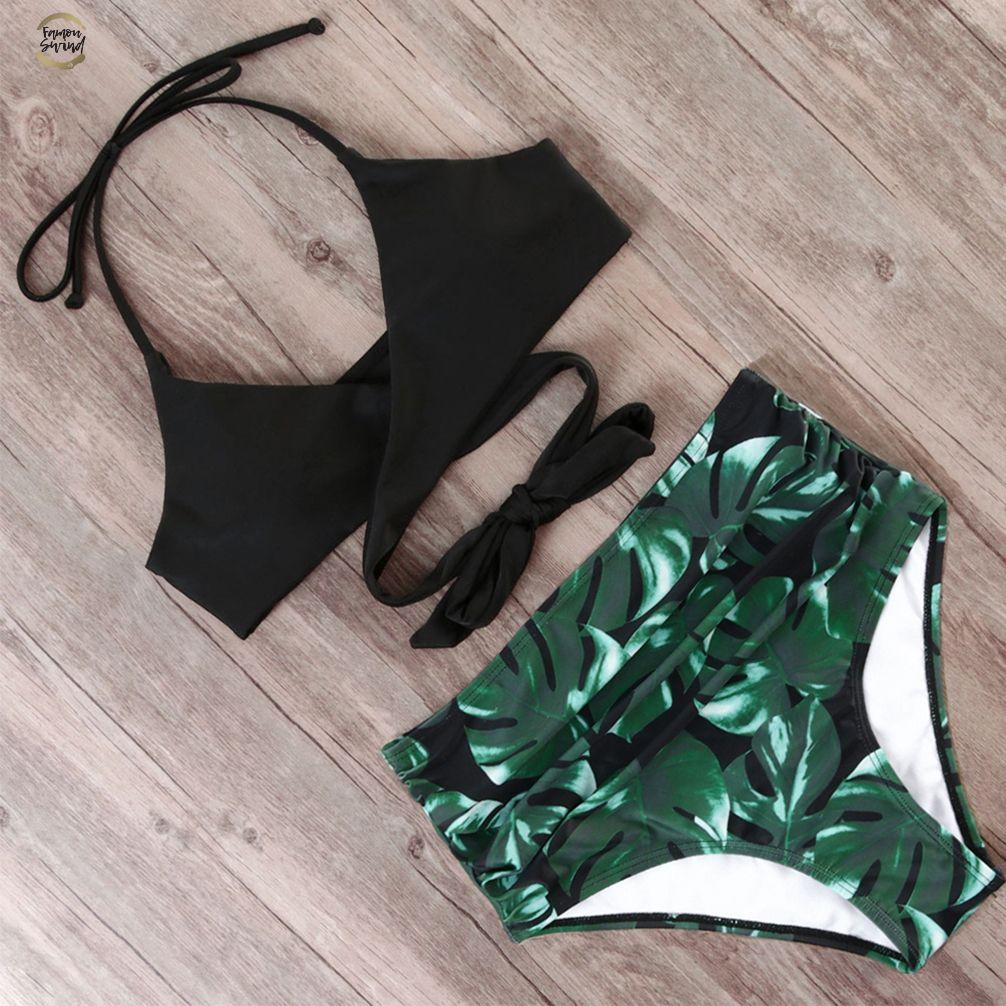 Sexy Bandage Bikinis brasilianischen Druck-Bikini-Frauen Frontseiten-Kreuz Halter Push Up Swimwear Floral Bottom 2 Stück Netter Swimsuits