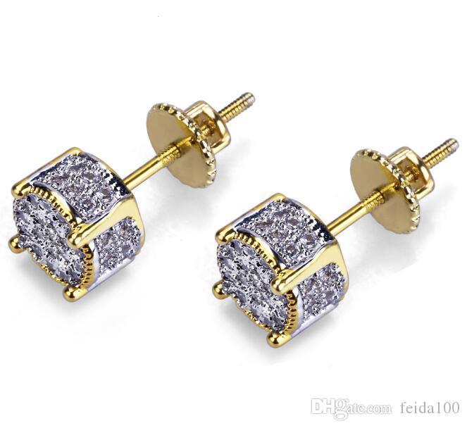 Diseñador de joyería de los pendientes pendientes de lujo para hombre de las mujeres de moda de Hip Hop Diamante Stud Pendientes CZ Bling hacia fuera helada roca del redondo GB1510