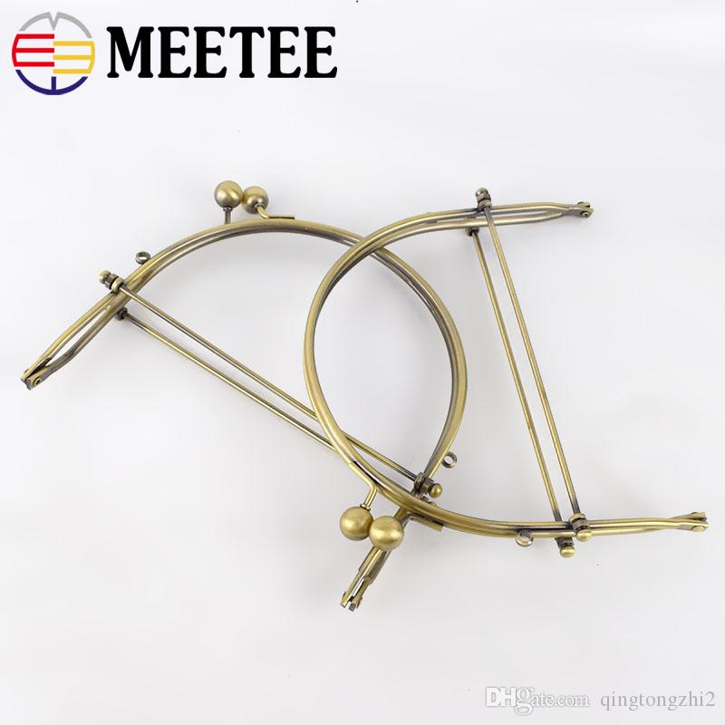 Meetee 15.5cm Metal Purse Frame Kiss Clasp Arch For Purse Bag Antique Bronze Round Ball Handle DIY Bag Accessories F1-68