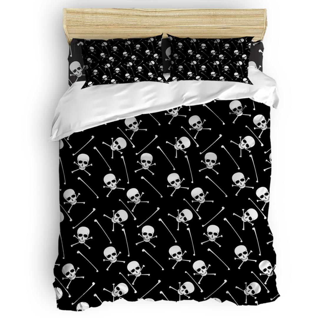 Halloween Skull Duvet Cover Set Vintage Floral Art Design Collection of 3/4pcs Bedding Set Bed Sheet Pillowcases Cover