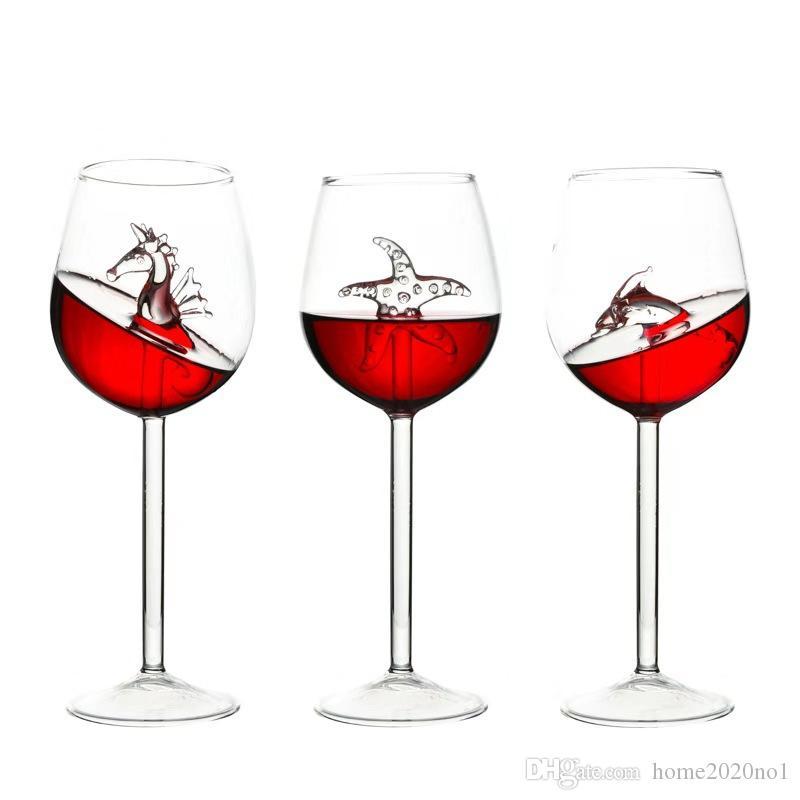 1PCS 300ML Red Wine Glasses Lead Free Titanium Crystal Glass Elegance Original Shark Red Wine Glass With Shark Inside Long Stemmed Glassware