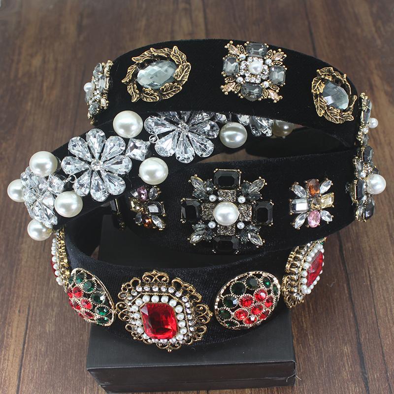 Vintage luxe baroque Accessoires cheveux Rouge Noir Cristal Perle fleur Bandeau strass pour les femmes Hairband Pour soirée de mariage