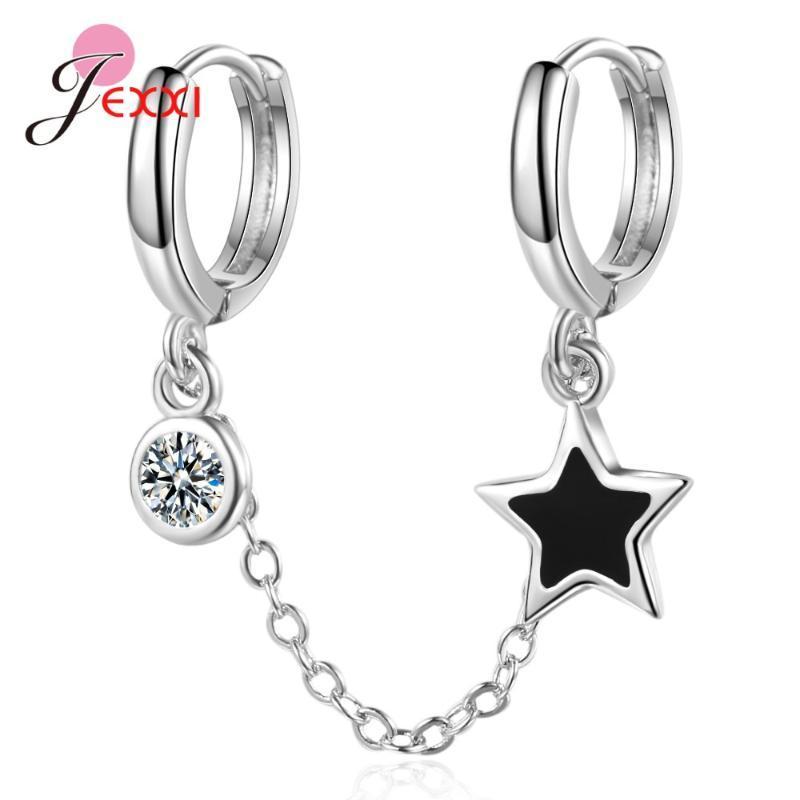 Personalidade 925 Sterling Silver Duplo Ear Buraco Hoop Brincos 5A Cubic Zircon com Pendientes de cadeia para mulheres