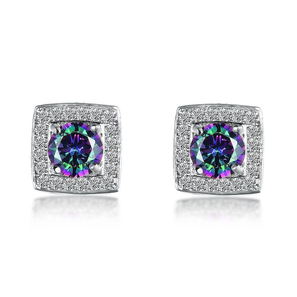 5 أزواج الكثير هدية عيد الميلاد مجوهرات luckyshine مربع متعدد الألوان الزركون الأحجار الكريمة 925 فضة مطلي للنساء أقراط