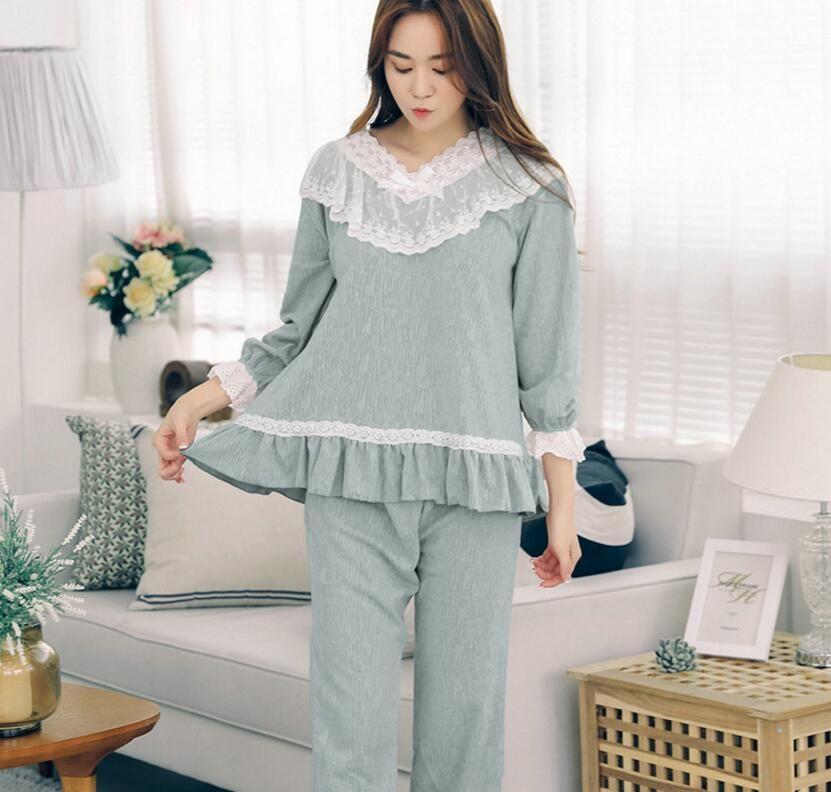 Vogue Summer Clothes Women Sleep Sets long-sleeve Shorts Cute Pure Cotton Pajamas Sets Homewear