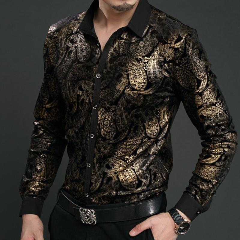 Al por mayor-New Spring Mens Velvet Shirts Hombres Baroque Brand Luxury Heren Kleding Chemise Homme Leopard Print Marque Abbigliamento Uomo Size