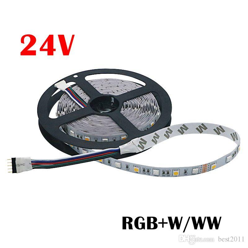 DC 24V Light LED Strip 5050 SMD RGBW RGBWW Led light 5M 60LEDs/m Flexible Neon Tape Non-Waterproof LED Lamp Strip TV Backlight