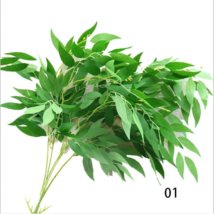 nouvelle arrivée 6 couleurs soie artificielle feuilles de saule feuilles fleur tropicale bureau plante maison Plantes de mariage Jardin Home Office Décoration