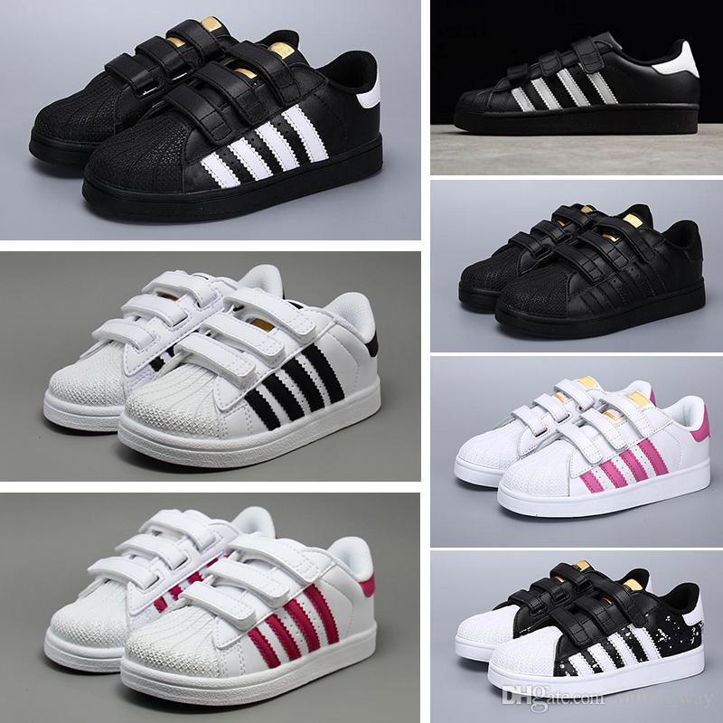 2018 New Superstars Shoes Black White Gold Hologram Junior