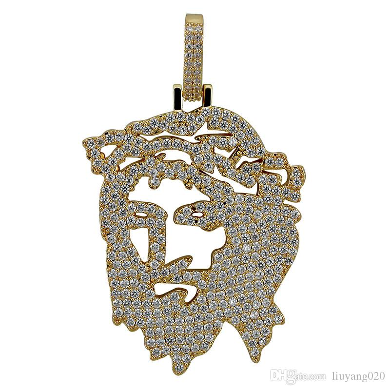 Solid Back Iced Out JESUS Christ Piece Head Face Pendants Necklaces Hip Hop Gold Silver Chain for Men Women Jewelry