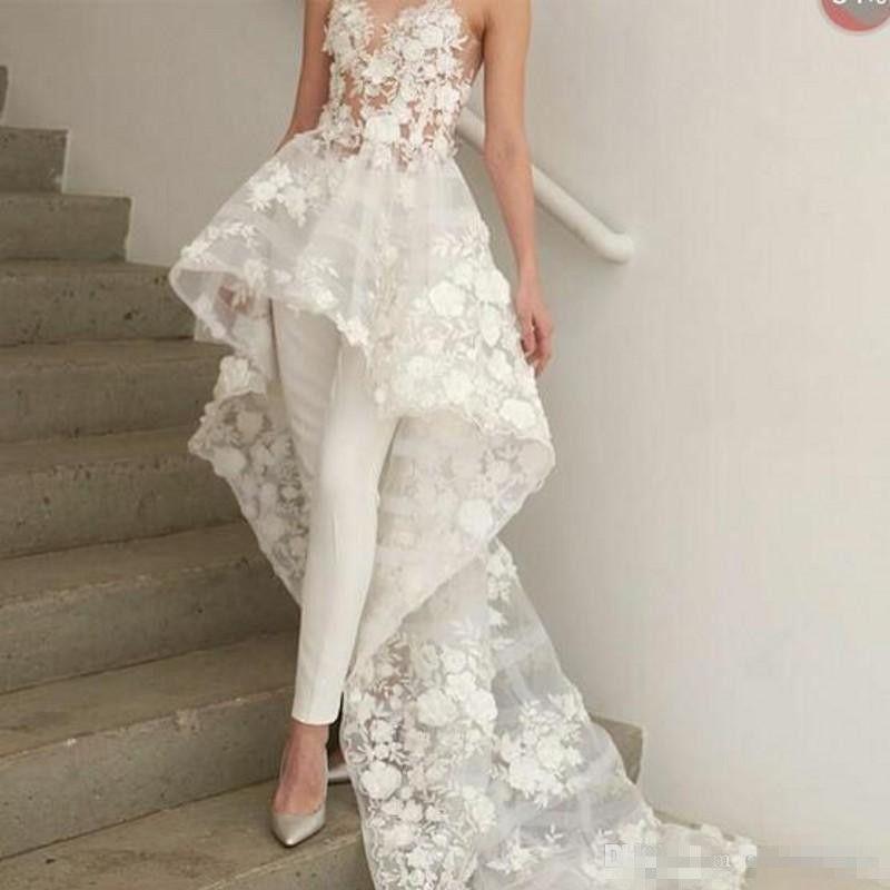 Nueva Sexy Bohemia blancos Monos largos vestidos de boda del tren largo 2019 vestido de novia apliques florales 3D Zuhair Murad amor del cordón