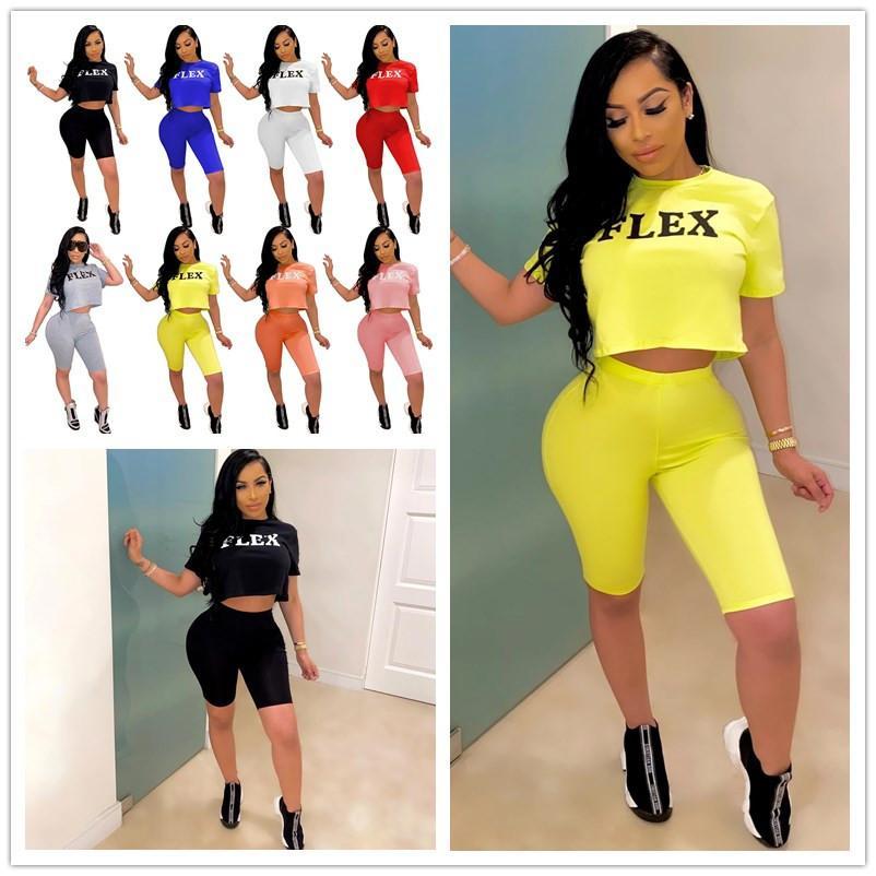 Fashion 2020 Women Shorts Tracksuit Flex Letter Two Piece Set Short Sleeve T-shirt T Shirt + Shorts Outfits Girls Summer Sports Suit A6221