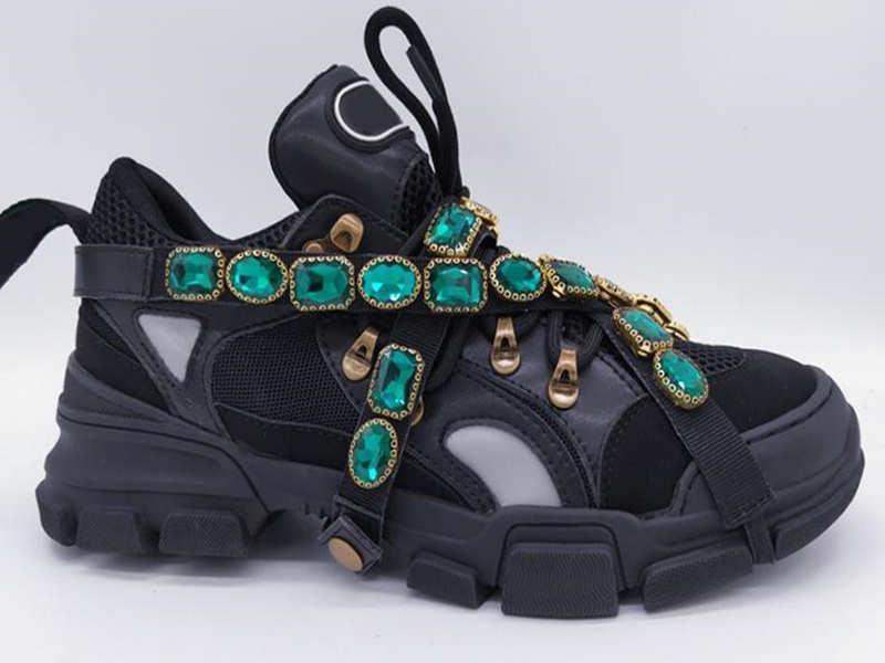 Çıkarılabilir kristallerin Erkek Tasarımcı Ayakkabı Moda Sneakers Klasik Ayakkabı Casual Eğitmenler ile Yeni Stil FlashTrek Sneaker
