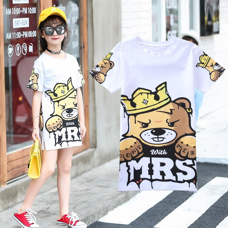 2020 Summer teenager kids baby Girls bear Dress Clothes t shirt Grandiose white dress hip-hop 3 4 5 6 7 8 9 10 12 years