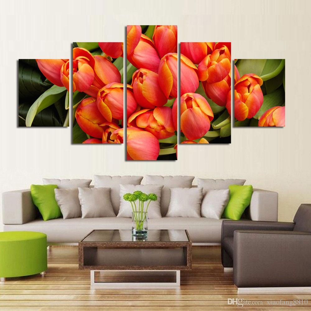 Großhandel / Set Blumen Leinwand Gemälde Rote Rose Moderne Kunst Wandbilder  Für Wohnzimmer Unframed HD Printed Von Xiaofang8810, $9.71 Auf ...