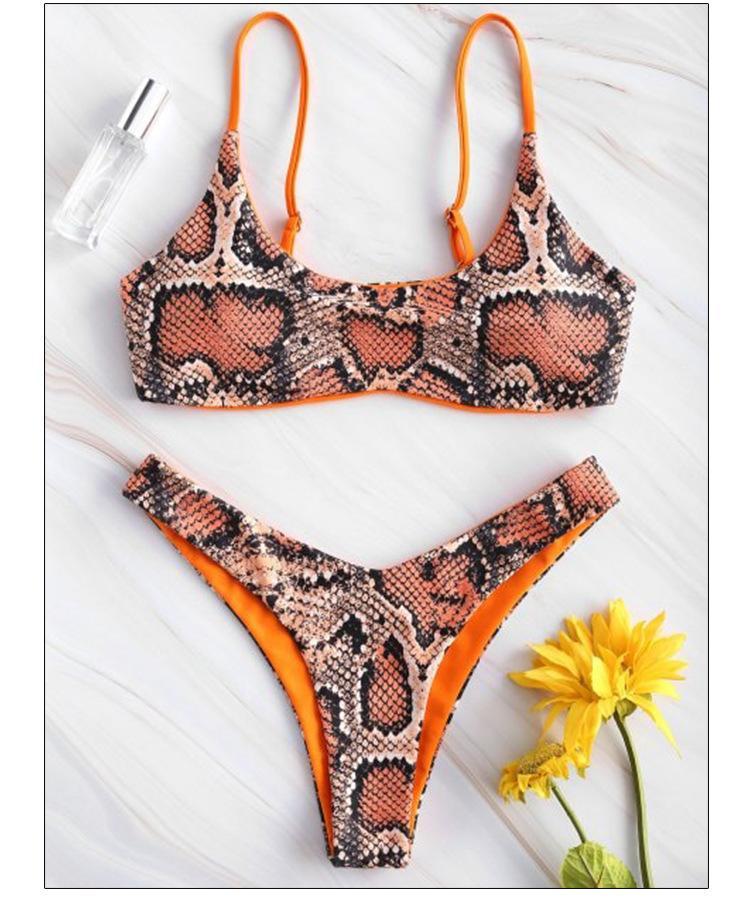 2020051622 yılan bikini Kadınlar Snake Skin High Cut V Yaka İki adet Bikini Mayo Mayo Beachwear mayo maillot de bain femme