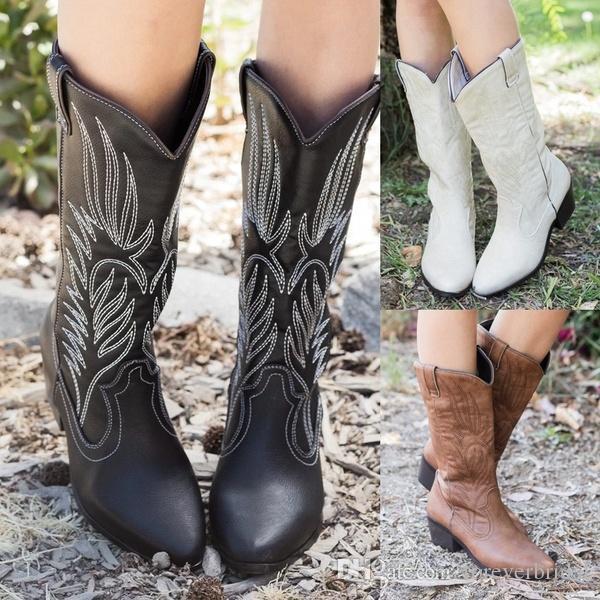 Herbst Winter Western New Fashion Damen Thick Heel Knight Boots Bestickte Reitstiefel Slip on Mid Calf Boots Lederschuhe