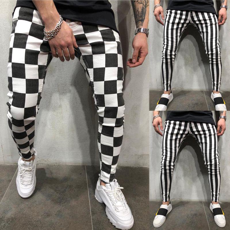 Pantaloni da uomo casual da uomo di Hirigin moda estiva slim plaid a righe comodi neri bianchi casual a matita