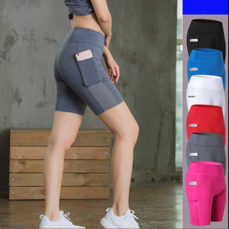 sport delle donne di yoga pantaloncini stretti veloce secco pantaloncini al ginocchio di fitness con tasca