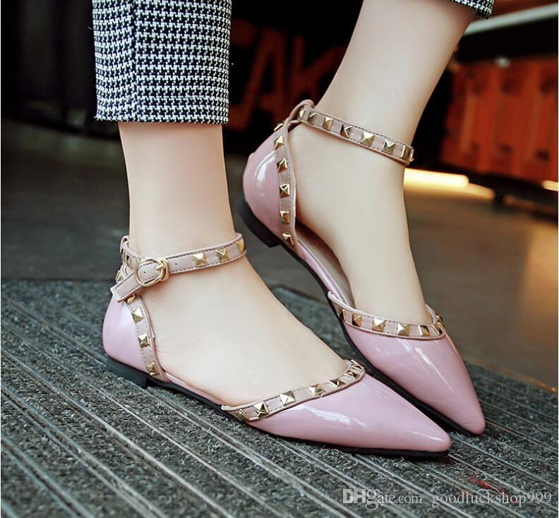 wholesaler free shipping factory price hot seller fashion high heel pointed toe patent leather chunky heel women shoes