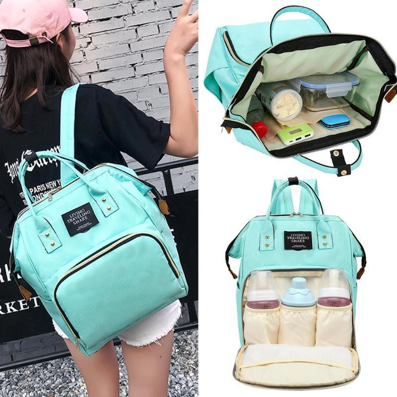 مومياء الأمومة الحفاض حقيبة السفر حقيبة الظهر قدرة كبيرة رعاية الطفل التمريض حفاضات حقيبة يد