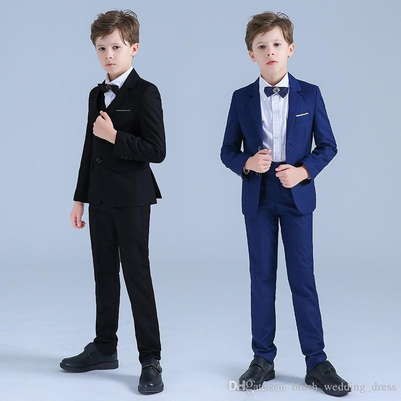 Boys Suits Tuxedos For Weddings Boy's Formal Occasion Little Men Suits Children Kids Wedding Party Boy's Formal Wear Custom-Made