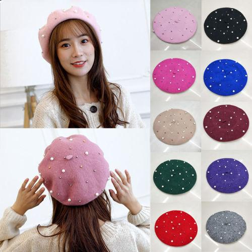 2019 New Pearl Plain Beret Hat Wool Autumn Women | Girls Fashion Hats French Beret Winter Outdoor