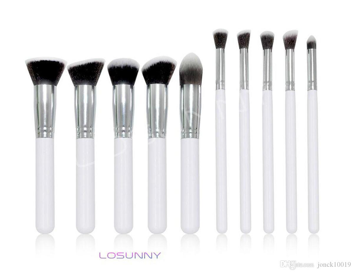 LOSUNNY 10 Pcs Wooden Handles Five Big Five Small Makeup Brush Set Eye Brush Foundation Brush Makeup Beauty Tools make up