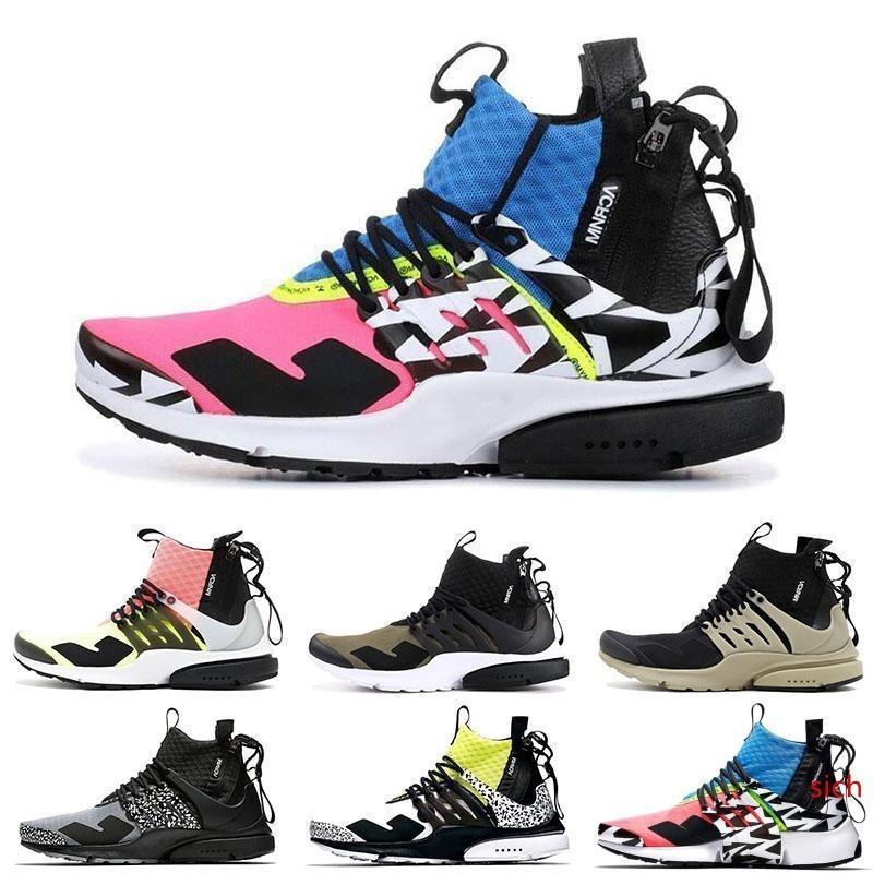 Hot Sale Fashion Mens Women Running Shoes Acronym x Presto Mid Prestos Zapatillas Hot Lava Dynamic Yellow Racer Pink Cool Grey Sport Sneaker