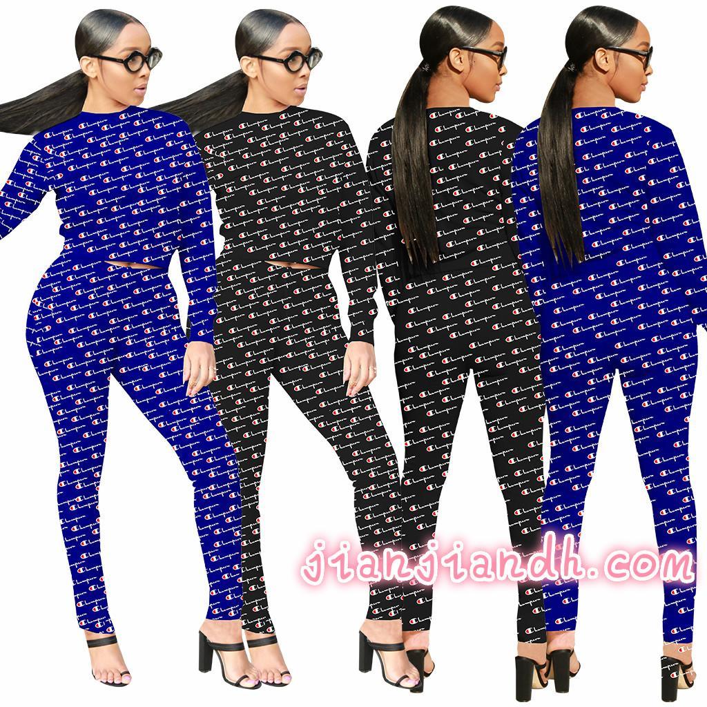 3585 transfronteriza europea y americana de la moda caliente 19 deportes de manga larga de las mujeres traje de dos piezas de ropa discoteca 823202011