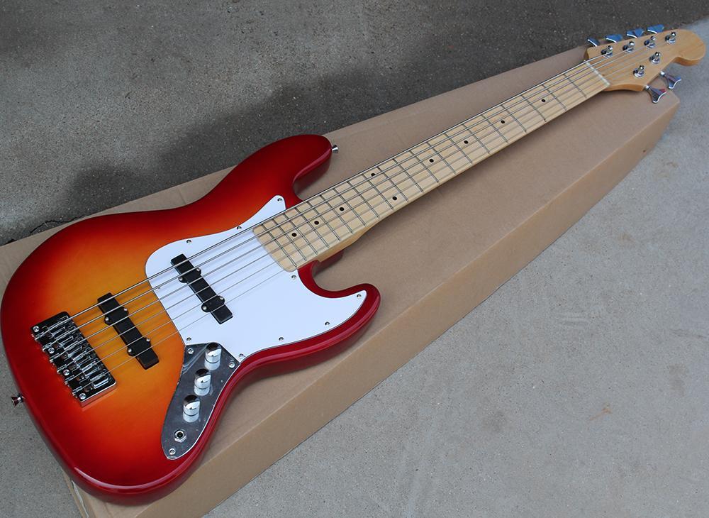 Cherry Sunburst 6 cuerdas Guitarra eléctrica de bajo con pickguard blanco, diapasón de arce con incrustaciones de puntos, hardware de cromo