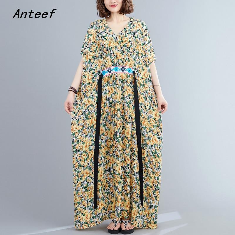 satin de coton taille plus anciennes femmes florales occasionnels en vrac robe longue plage d'été maxi vêtements élégants 2020 robes dames