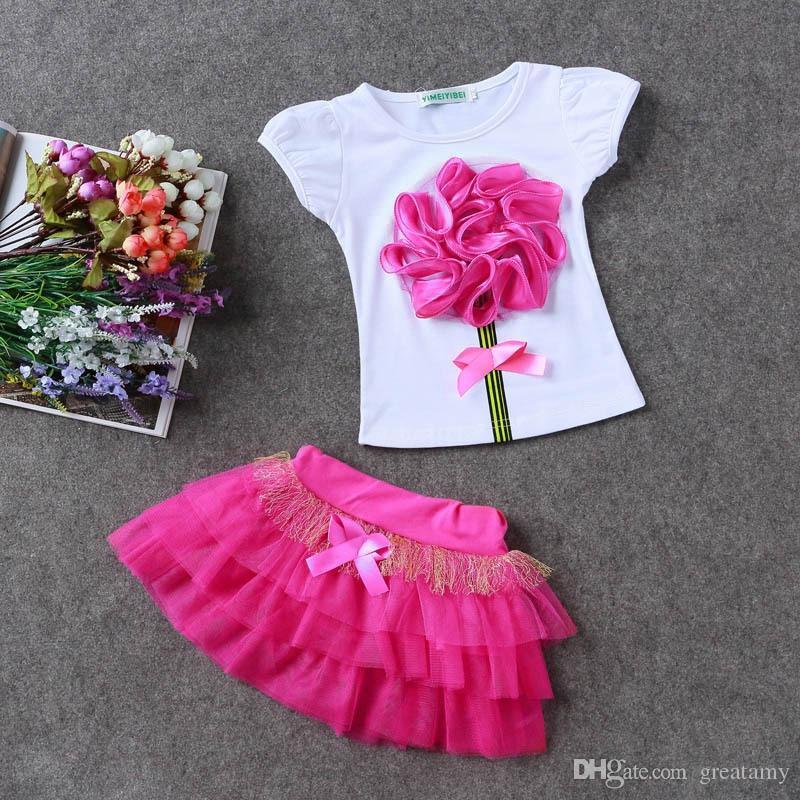 7 colors Kids girls princess wedding flower T-shirt tulle tutu dresses set flower baby fashion clothes