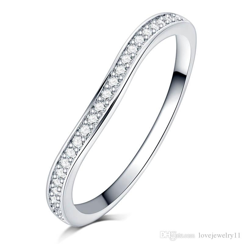 full Clear zircon stone pave silver color wave Ring engagement Cocktail wedding alliance for women girls