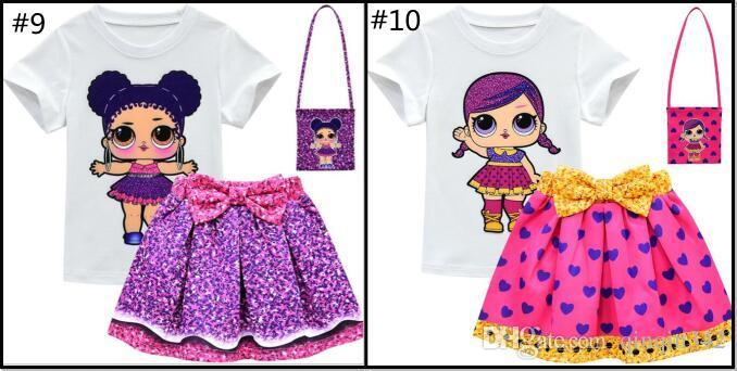 Skirts Outfit with Bag 3pcs Kids Girls Lol Surprise Dolls Short Sleeve T Shirt