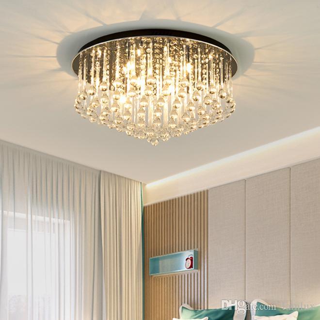 Kristal avize tavan aydınlatma gömme montaj yuvarlak lüks modern kristal avizeler ışıklar led Yuvarlak tavan yatak odası fuaye için lambalar