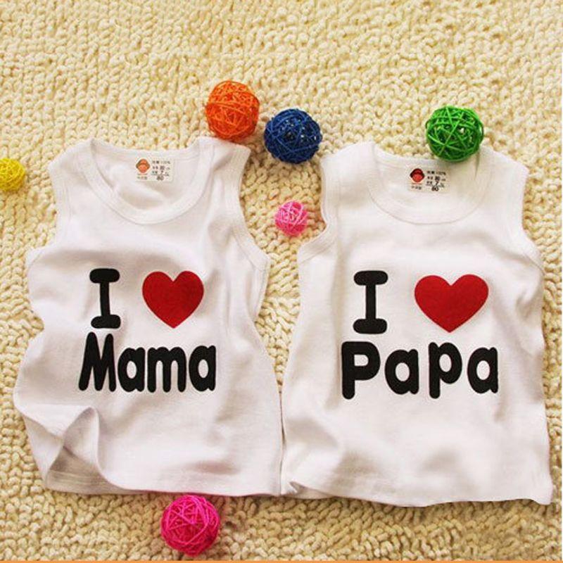 Crianças Bebés Meninos Meninas Coletes camisetas Crianças de Verão Vest Top Heart Letter Outfit Kid Imprimir Tops Roupa Cotton Tees