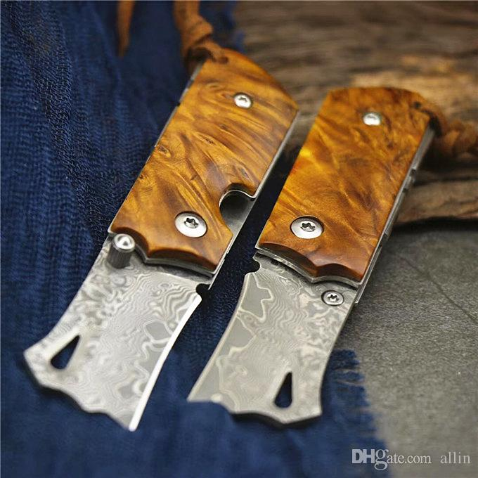 Cuchillo plegable nueva mini pequeño Damasco VG10 Damasco de acero de madera de la manija de la lámina del bolsillo cuchillos plegables del cuchillo del regalo