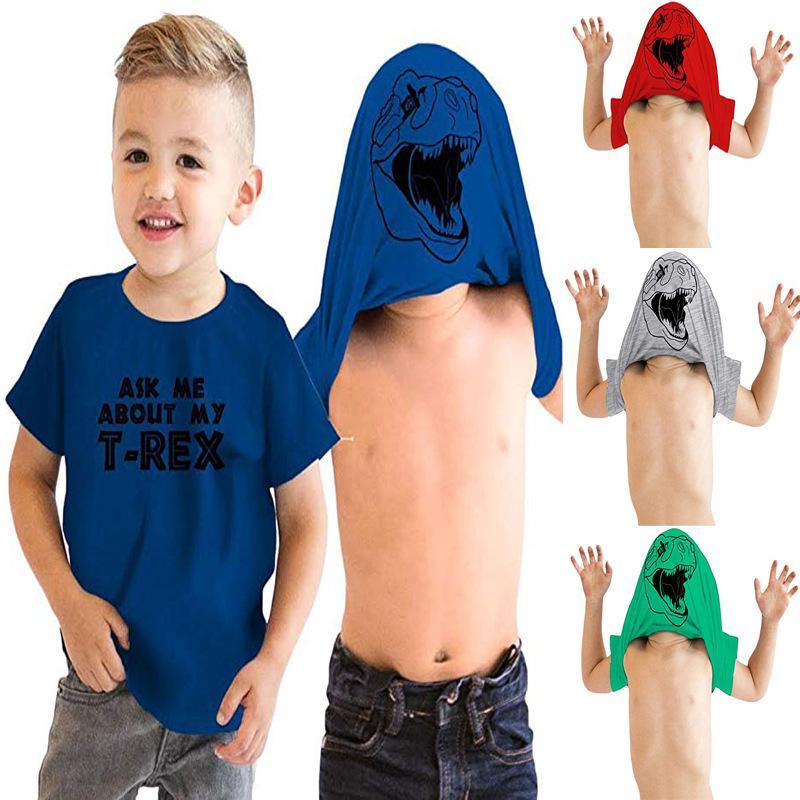 Динозавр в масках Дети мальчиков футболки лето мультфильм животных Boy T Shirt Tops Ask Me About My T-Rex печатных детей Одежда