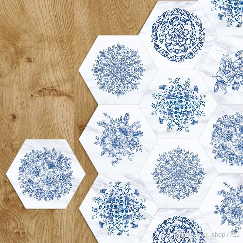 욕실 주방 셀프 접착 벽지에 대한 3D 바닥 스티커 블루 화이트 도자기 대리석 미끄럼 방지 방수 벽 스티커