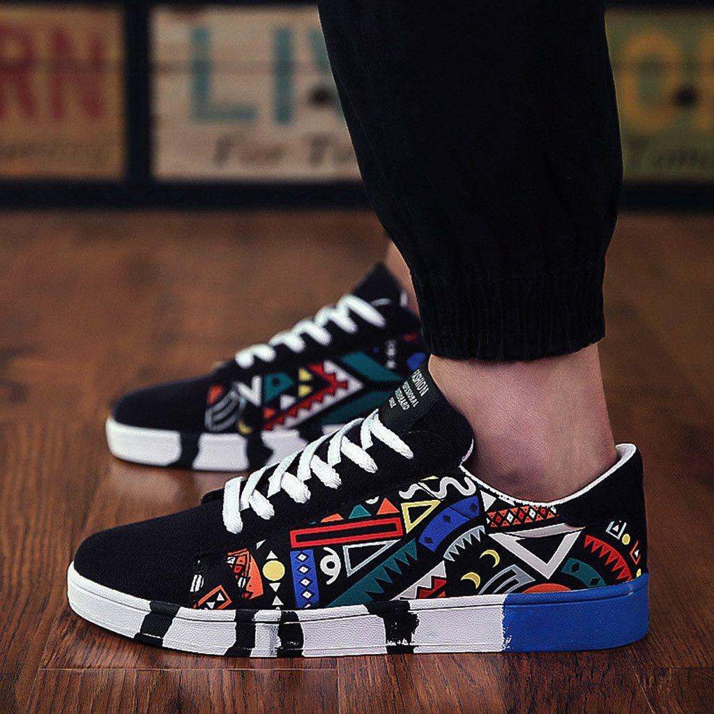 Chaussures hommes nouveaux mode casual sport vulcanisée dentelle toile coloré planche à peinture graffiti chaussures