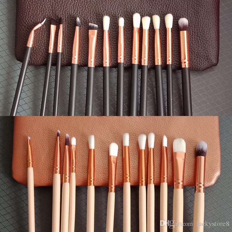 brand 12pcs set Eyeshadow Makeup Brushes with bag 2colors Make Up Brushes Set Professional Cosmetic Brush Eyeshadow Lip Brush drop shipping